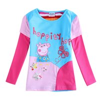Wholesale F5645D nova kids clothes baby girl peppa pig tops patchwork cotton fabric long sleeve t shirts for autumn winter