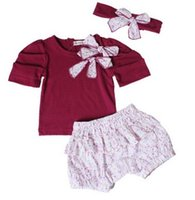 Cheap Toddler Baby Infant Clothes Children's Outfits Sets Cut Girl Cotton Purple Kinds Bow Top+Pant+Headband 3Pcs 0-3Y Spring Coats#YM001