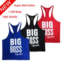 gym vest - Men s Bodybuilding Tank Tops Deepcut Fitness Vest Workout Racerback Stringer Singlets High Quality Big Boss Golds Gym Shark