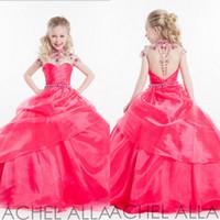 glitter ribbon - Hot Princess Ball Gown Pageant gowns for teens Fuchsia Organza High Neck Backless cap sleeve Blink Crystals Glitter Flower Girls Dresses