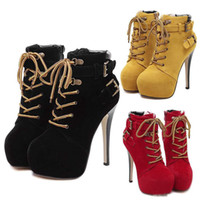 beige platform booties - Sexy Stiletto Platform Shoes With Buckles Lace Up High Heel Ankle Boot Shoe Womens Booties Add Plush Winter Size to