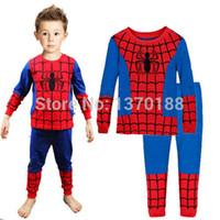 Wholesale Baby Boys Spiderman Iron Man Toddler clothing set child s clothes Pajamas Sets Nightwear Homewear