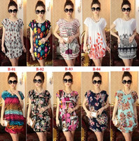 Wholesale 2015 New Hot Cheap Summer Dress Floral Print Vintage Women Plus Size Milk Silk Casual Dress Beach Dress