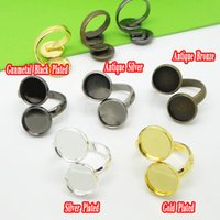 antique silver cameo ring - 30pcs Antique Bronze Antique Silver Gold Silver Gunmetal Black Ring Blanks with Double inner mm Tray for Cameo Cabochons
