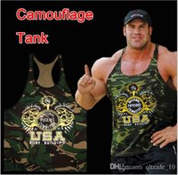 camouflage tank top - 2015 color men summer Bodybuilding T shirts Camouflage printed vest fitness Tank Powhouse Gym Tank Top tees Sports Undershirt TOPB3615