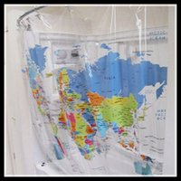 Wholesale hot sale clear pvc world map shower curtain trendy educational Geography bathroom supplies vinyl water repellent shower curtain kids gift