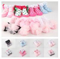 ruffle socks - 19 colors slipper socks lace baby socks Adorable cotton baby shoes with non slip rubber soles princess ruffle socks stereo socks