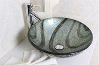 Wholesale Antique round art tempered Vessel Sink With High oblique faucet Set N