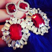 Wholesale Vintage Luxury Crystal Teardrop Dangle Earings Fashion Jewelry Rhinestone Drop Earrings Ear Pendant For Lady Woman