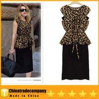 Wholesale Hot Sale Beautiful Dress The New European Leopard Sleeveless Two piece Dress