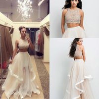 blue prom dresses - Two Pieces Prom Dresses Beads Crew A Line Asymmetrical Organza Beach Dresses Party EveningGowns Ruffles Spring Summer Homecoming Dresses