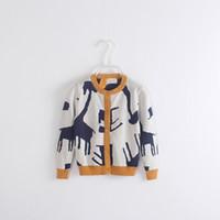 Wholesale Girls buckle sweater cardigan sweater giraffe elephants wool knitwear child in the fall and winter ZJ1080