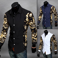 Wholesale Newest Fashion Mens Long Sleeves Printing Shirt Slim Fit Luxury Casual Stylish Dress Shirts Colors