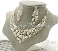 Wholesale 2015 Fashion Wedding Party Bridal Ivory Imitation Pearl Rhinestone Crystal Necklace Earrings Set Jewelry Prom
