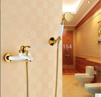 bathroom tub paint - New Golden Brass Bathroom Tub Faucet White Paint Mixer Tap W Ceramic Hand Unit