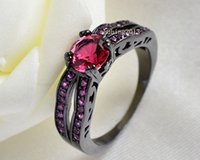 10k gold jewelry - SZ6 K Black Gold Filled Rhodium plated Ruby Red CZ Lady Wedding Band Engagement Women s Ring Bridal Jewelry