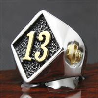 band motors - Fashion Biker Rings Cool L Stainless Steel Golden Skull Number Mens Biker Ring Punk Motor Cycles Ring