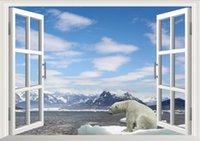 bear window film - White Snow Glacier Mountain Beach Polar Bear D Window Beautiful Film wall Decal Wallpaper View Wall Stickers