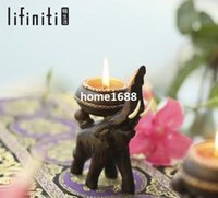 Wholesale Lifiniti Thailand Pure Hand Made Wood Candlestick Candle holders Home Decoration Novelty Households Christmas Gifts Wedding