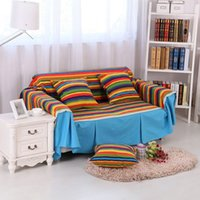 Wholesale New Europe type Thick Non slip Cotton Canvas Fabric Cover Sofa Pastoral Slipcover Printed Sofa Cover Send Cushion Cover
