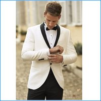 Wholesale 2015 New White Jacket With Black Satin Lapel Groom Tuxedos Groomsmen Best Man Suit Men Wedding Suits Jacket Pants Bow Tie set A8