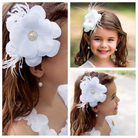 active wear kids - Beautiful Flower Girls Head Pieces White Flowers Floral Beaded Feather Formal Hear Wear Kids Party Pageant Head Accessories Cheap