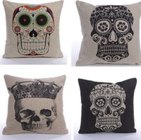 Cheap 60pcs lot Vintage Personality Cotton Linen Skull Pillowcase Mix Styles Cushion Cover Pillow Case For Sofa Bed Cars Decoration