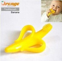 Cheap Banana Shape Silicone Baby Toothbrush Best silica gel