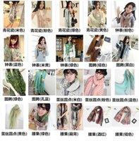 achat en gros de zig zag imprimé-New 170 * 80cm Fashion Autumn Vintage soie écharpes femmes décontracté magnifique impression écharpe châle Wrap couleur Livraison gratuite