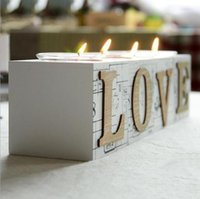 Wholesale Hot sale brand New Quality Wood White Love Candle Holder Stand Home Decor in Set