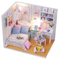 Wholesale Morning Wish Design DIY Wood Dollhouse Miniature Furniture LED Handcraft Kits