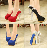 Wholesale 2015 elegant blue shoes with chain women crystal heels high platform pumps sexy high heel dress shoes wedding crystal shoes