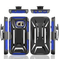 achat en gros de x couche-Pour Galaxy S6 / S7 / Bord Mesh Dot Grid X Clip Line Blet Armor Kickstand Hybrid Layer Case Hard PC + Soft TPU Titulaire Téléphone 2in1 Stand Skin Cover