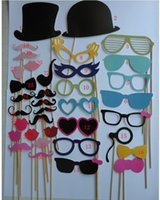 Wholesale 36 DIY Photo Booth Prop Wedding Birthday Party On A Stick Decorations Stick Wedding Party Favor Mask Photo Booth Props