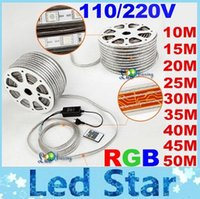 Wholesale 10M M M M M M M M M V V High Voltage SMD RGB Led Strips Lights Waterproof IR Remote Control Power Supply