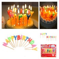 Wholesale 13pcs Colorful Birthday Cake Candles Wave Point Style Smokeless Topper Enclosed Wooden Stick Children Favor Party Gifts