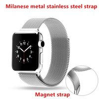 band magnets - Milanese Stainless Steel Watch Band For Apple Watch mm mm Wrist Watch Bracelet Buckle Clasp Metal Watch Strap Magnet Strap VS Silicone