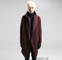 asymmetrical belted coat - Fall M XL Plus size Trend men s clothing vintage wool coat fashion personality asymmetrical with a hood woolen outerwear costumes