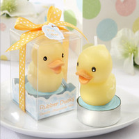 Wholesale Candle Souvenirs Birthday - Yellow Duck Candle Gift Box Packing Baby Candles Baby Souvenirs Baby Shower Gift Favors Baby Birthday Party Decoration