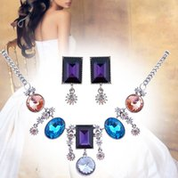Wholesale Silver Plated Made with Austria Crystal Jewelry Sets Necklace earrings s206