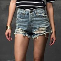 Wholesale Fashion Summer Women New High Waist Denim Shorts Frayed Hole Female Super Cool Flash Shorts XS XL