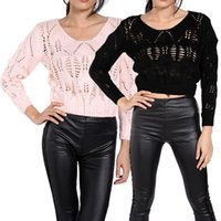 Cheap New Desgined Fashion Women Sexy Hollow Out Sweater Knitted Sweaters Short Jumper Pullover Casual Tops 31