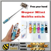 stainless steel wire - 2015 new mini wired monopod selfie sticks for Ios android universal Aluminum extandable pocket selfies with cable for Iphone