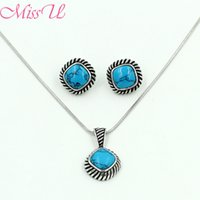 Wholesale SNE25084 MissYou Sterling Turquoise Silver Filled Vintage Round Black Gun Plated Chain Statement Pendant Necklace Earing Jewelry Sets