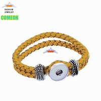 american press - Yellow Real Leather Bracelet Base Band Fits Metal Snap Press Buttons