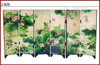 Wholesale New Chinese Miniature Vintage Wooden Flower Lacquer Six Folding Screen Ornaments