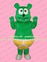 Wholesale Pretty Green Gummy Bear Mascot Costume Gummibar With Small Black Nose Mascotte Mascota Adult Cartoon Character No Free Ship