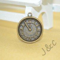 Cheap 65 pcs Vintage Charms Clock Pendant Antique bronze Alloy Fit Bracelet Necklace DIY Metal Jewelry Findings#Z1401726