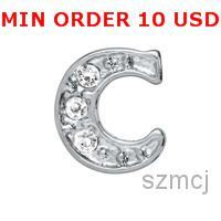 initial charms - C INITIAL Glass Floating charms for memory locket