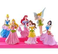 ariel ornament - Hot Cartoon toys Princess Ariel Snow White model flower fairy dolls ornaments pvc flower elf doll set
